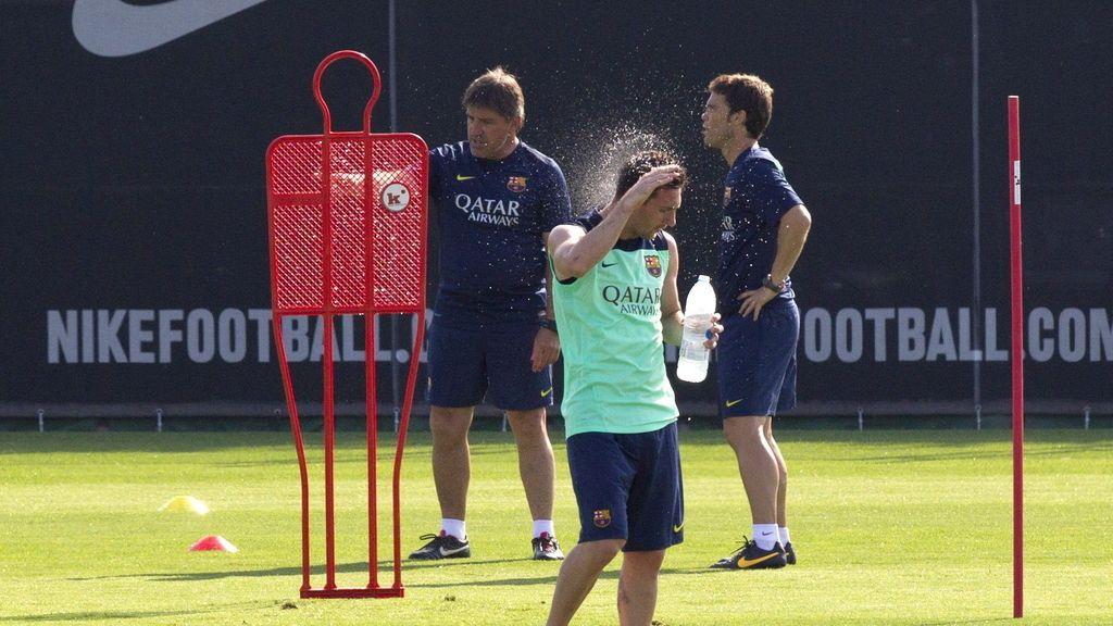Rourá y Rubí durante el primer entrenamiento del equipo