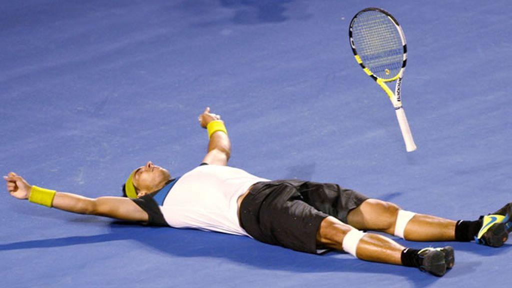 Rafa Nadal celebró así ser el primer español en ganar el Open de Australia