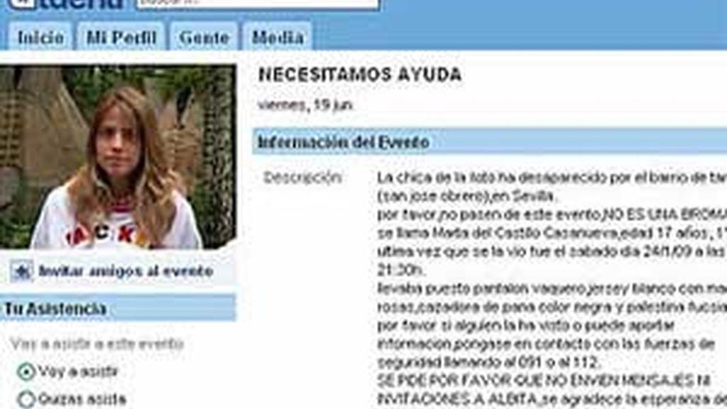Los perfiles de Marta del Castillo y el del menor implicado en la desaparición de la menor fueron eliminados de Tuenti. Foto: Informativos Telecinco