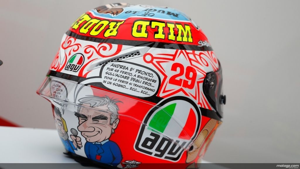 Detalle del casco de Andrea Iannone