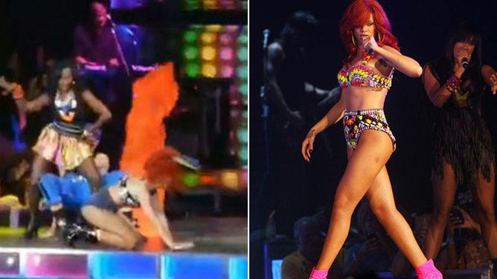 Las rodillas de Rihanna se clavaron en el escenario: caída por tacones
