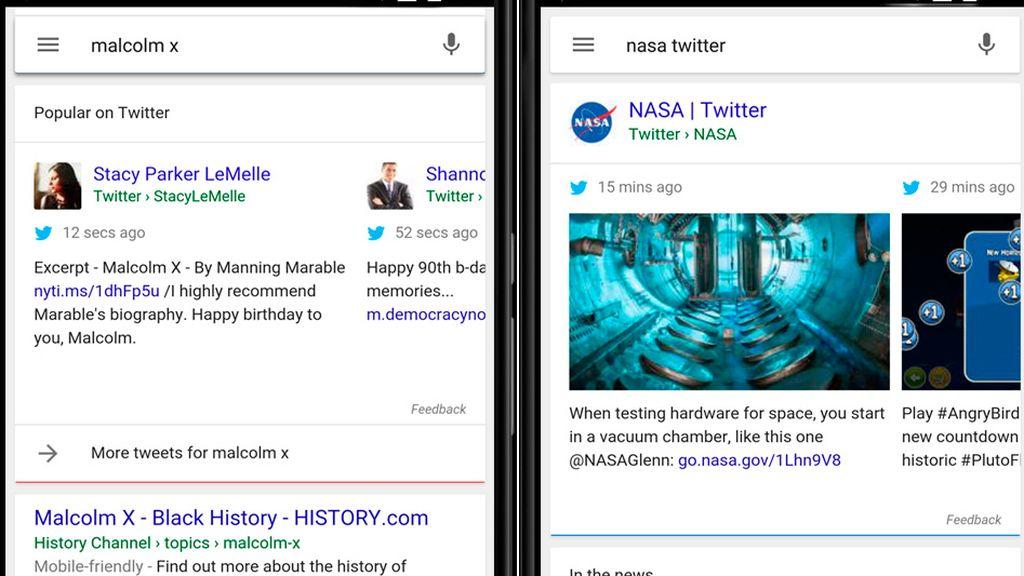 Google incluye en sus búsquedas en móviles y tablet los tuits más relevantes