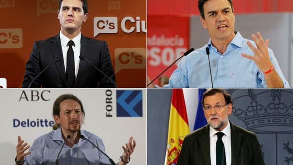 Albert Rivera, Ciudadanos, Pedro Sánchez, PSOE, Pablo Iglesias, Podemos, Mariano Rajoy, PP,