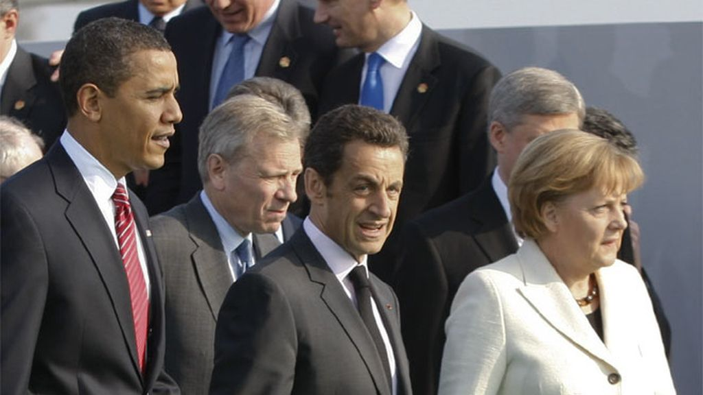 Obama, Sarkozy y Angela Merkel