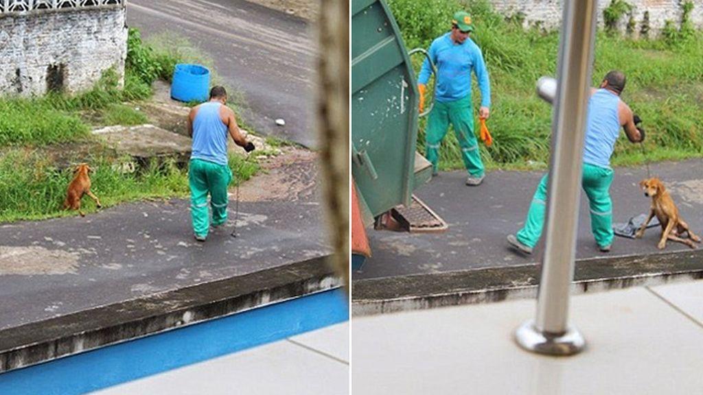 Un basurero brasileño despedido por tirar un perro al camión