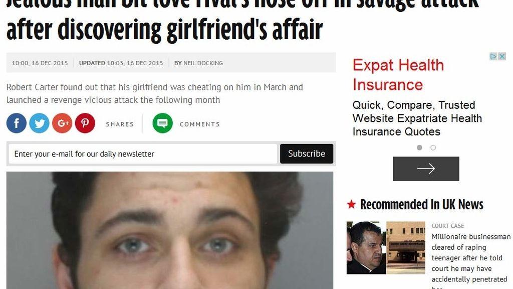 Muerde en la nariz al amante de su novia