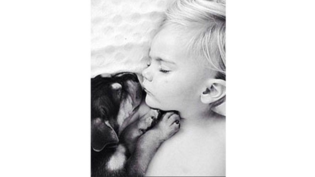Dulces sueños de un bebé con su perro