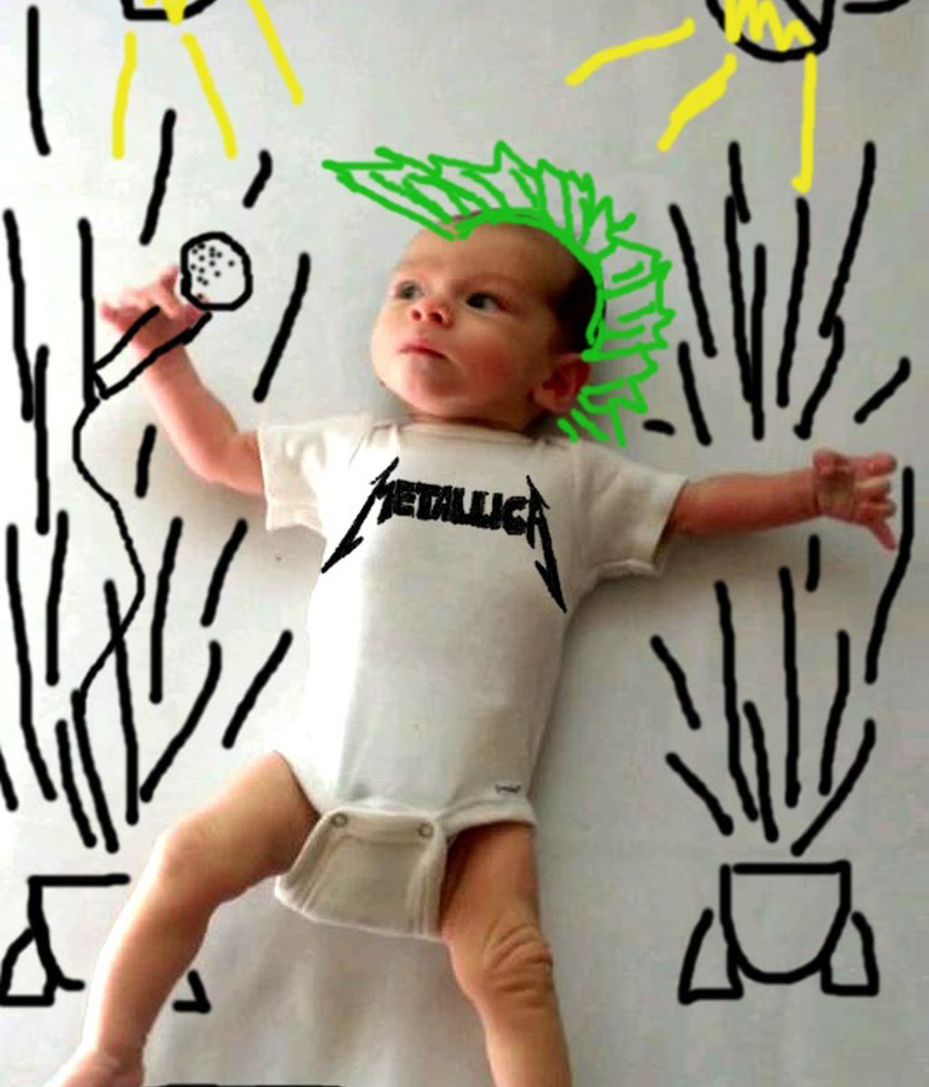 Bebés dibujados con diferentes objetos