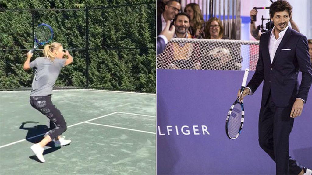 Intercambian profesiones: él también hace sus pinitos como tenista