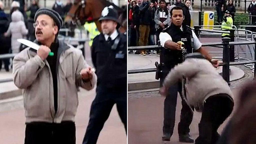 Un hombre armado con dos cuchillos es reducido por la policía británica con una Taser