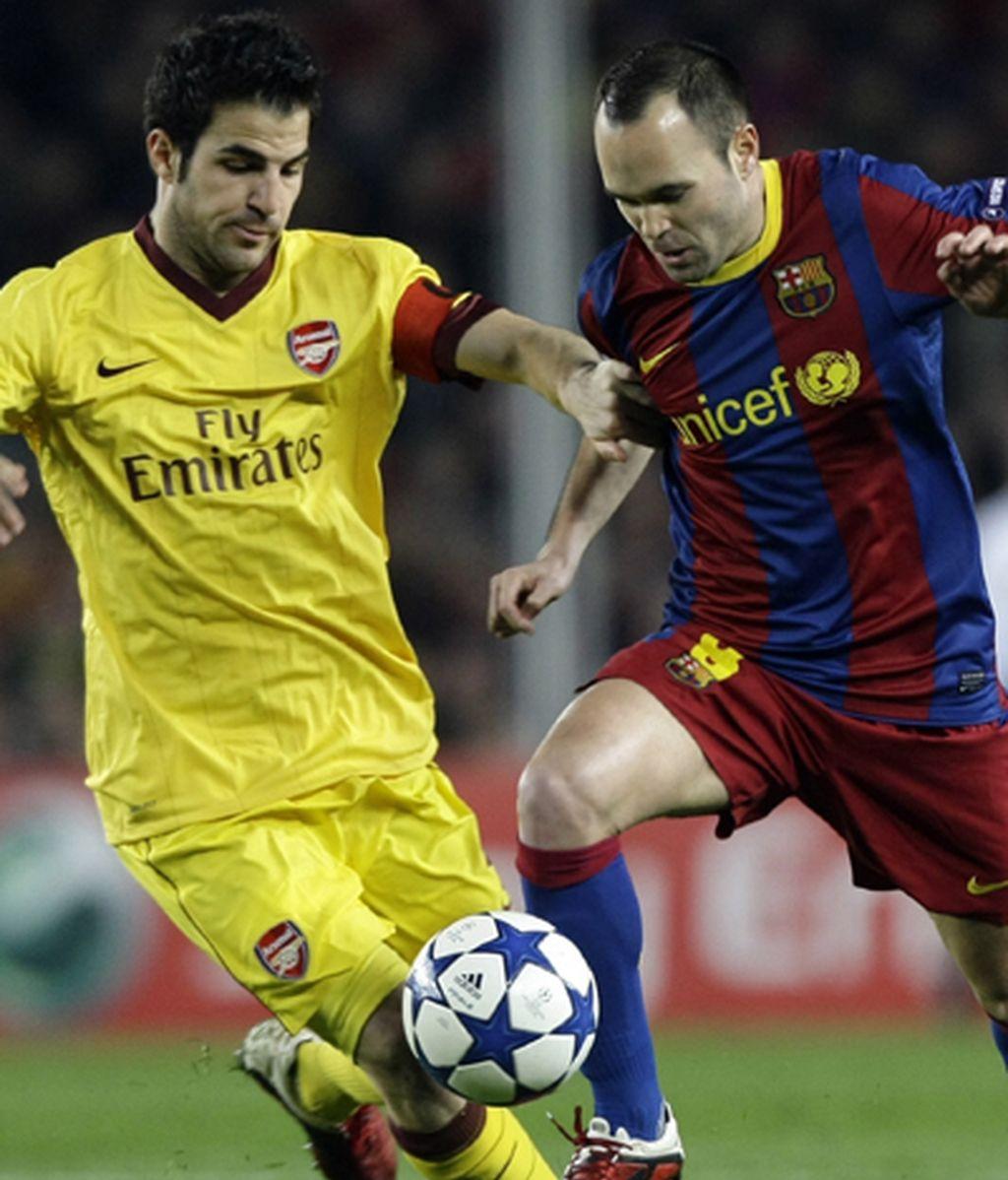 Durante un partido de Champions, jugando contra sus nuevos compañeros del barça