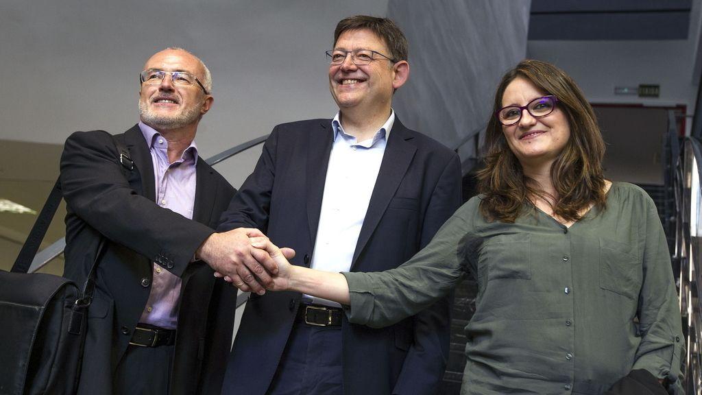 Los candidatos a la Presidencia de la Generalitat del PSPV, Ximo Puig (centro); Compromís, Mónica Oltra; y Podemos, Antonio Montiel