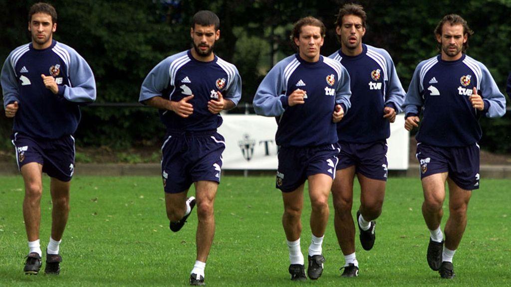 Junto a Guardiola, Salgado, Urzaiz y Jémez, en la Eurocopa de 2000