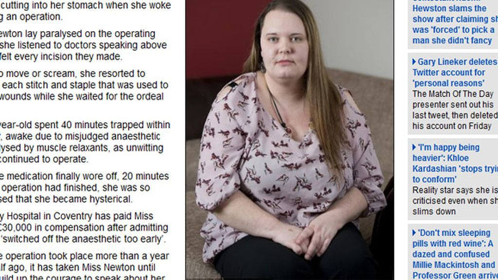 Una mujer describe el horror de despertarse durante una operación quirúrgica