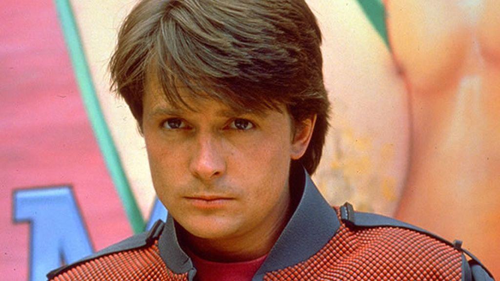 Primer plano de Michael J. Fox en Regreso al futuro II