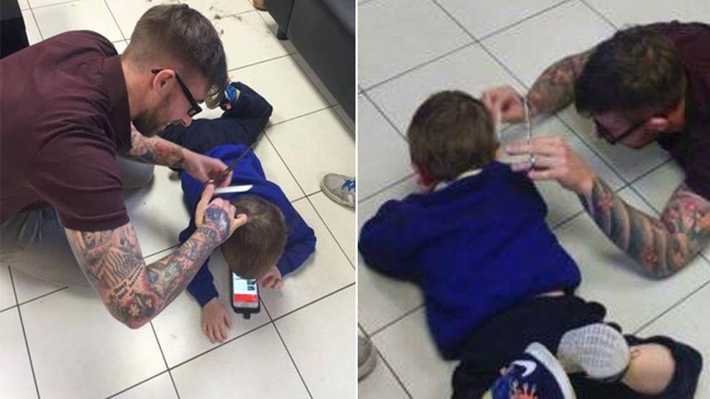 El peluquero que se tiró al suelo para cortar el pelo a un niño autista
