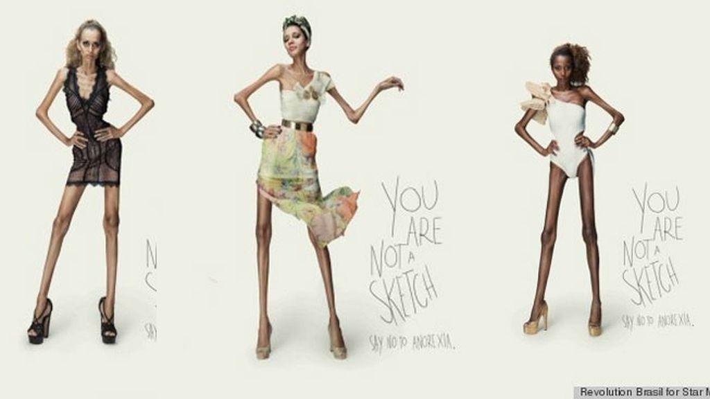 Modelos anoréxicas que parecen bocetos