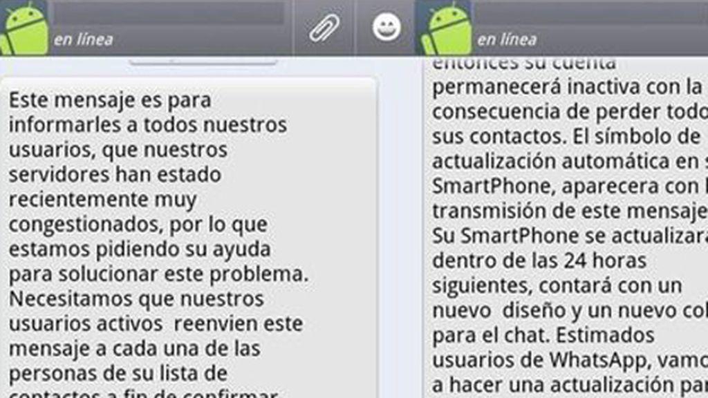 El falso mensaje que están recibiendo los usuarios de Whatsapp.