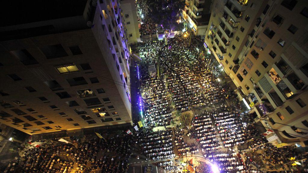 Ceremonia en los suburbios del sur de Beirut