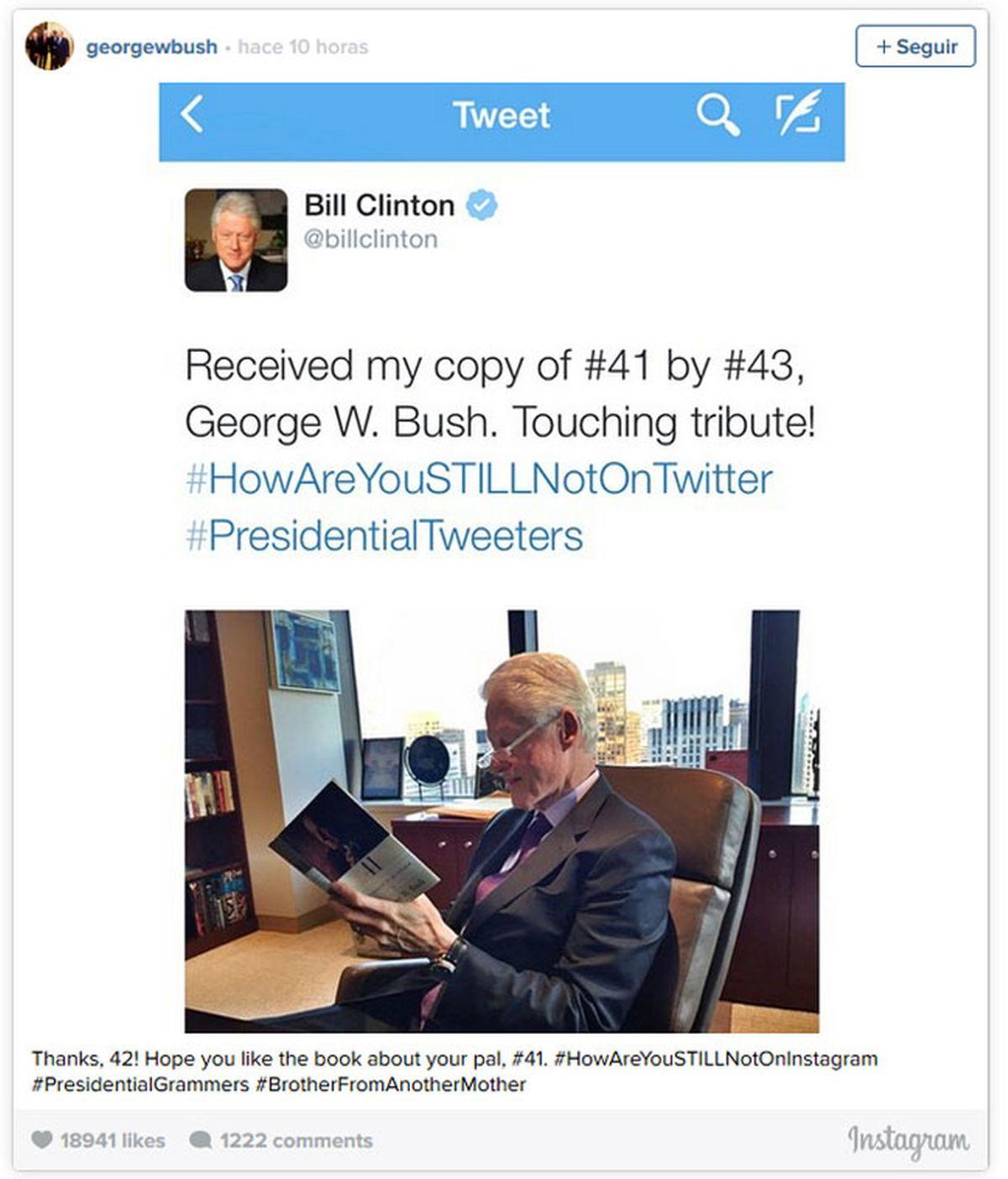 expresidentes de EEUU, Bill Clinton, George W. Bush, Twitter, Instagram