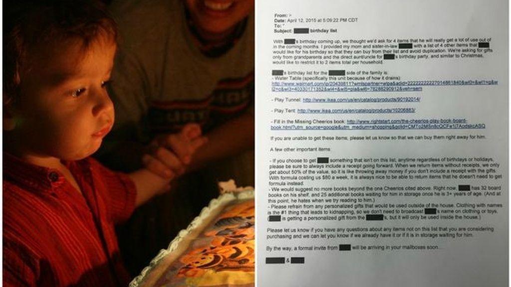 Una familia exige a través de un correo los regalos para el cumple de su hijo