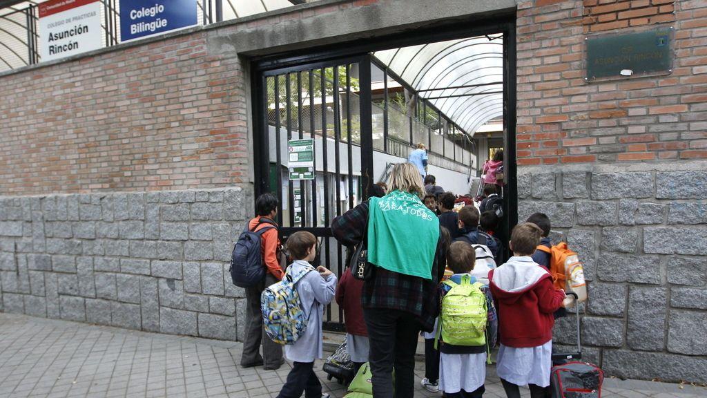Entrada a un colegio madrileño durante la última jornada de huelga en la educación