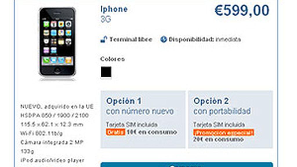 Imagen de la web de Simyo, que ofertaba el iPhone por 599 euros.