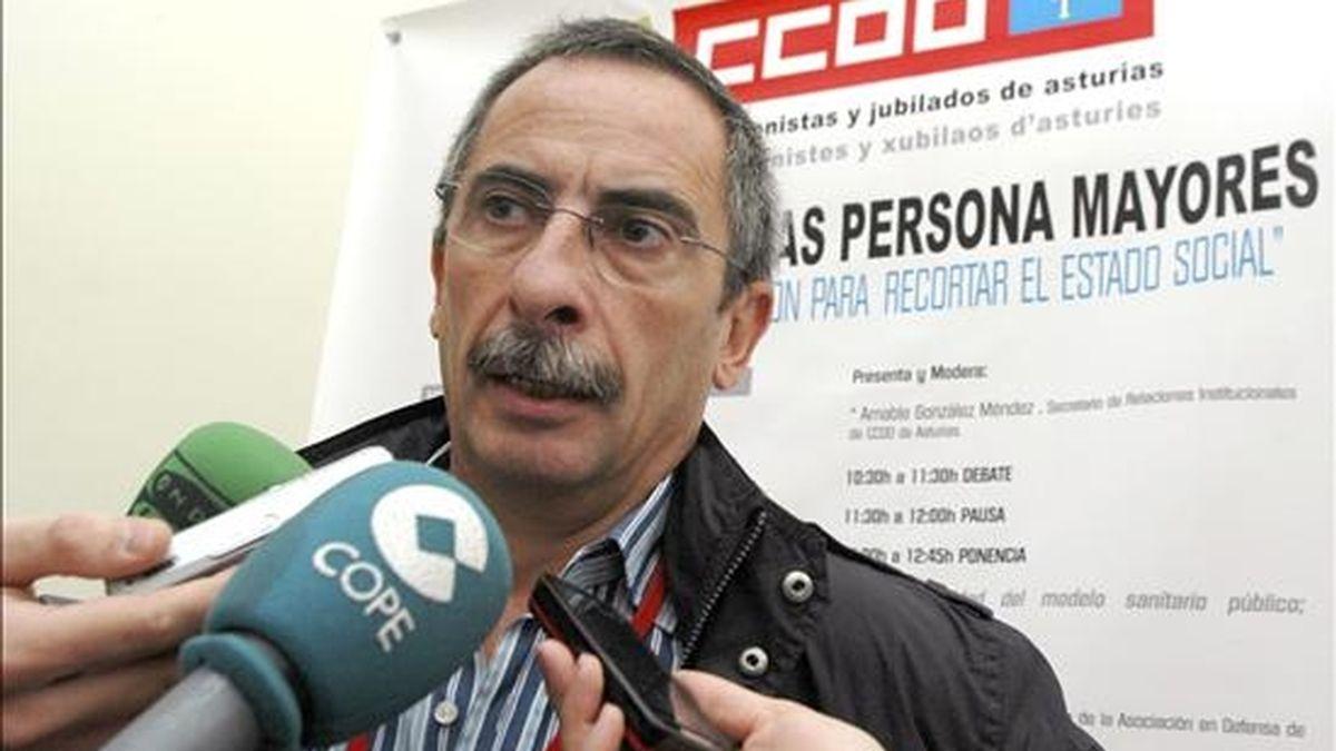 El secretario confederal de Acción Sindical de CCOO, Ramón Górriz, atiende a los medios de comunicación. EFE/Archivo