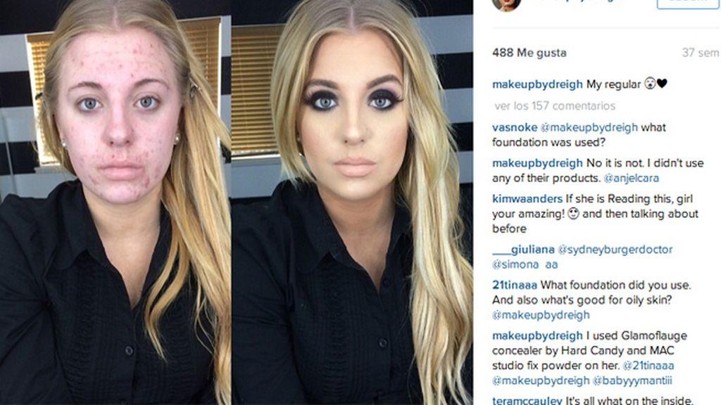 Sus fotos de antes y después del maquillaje se convierten en meme