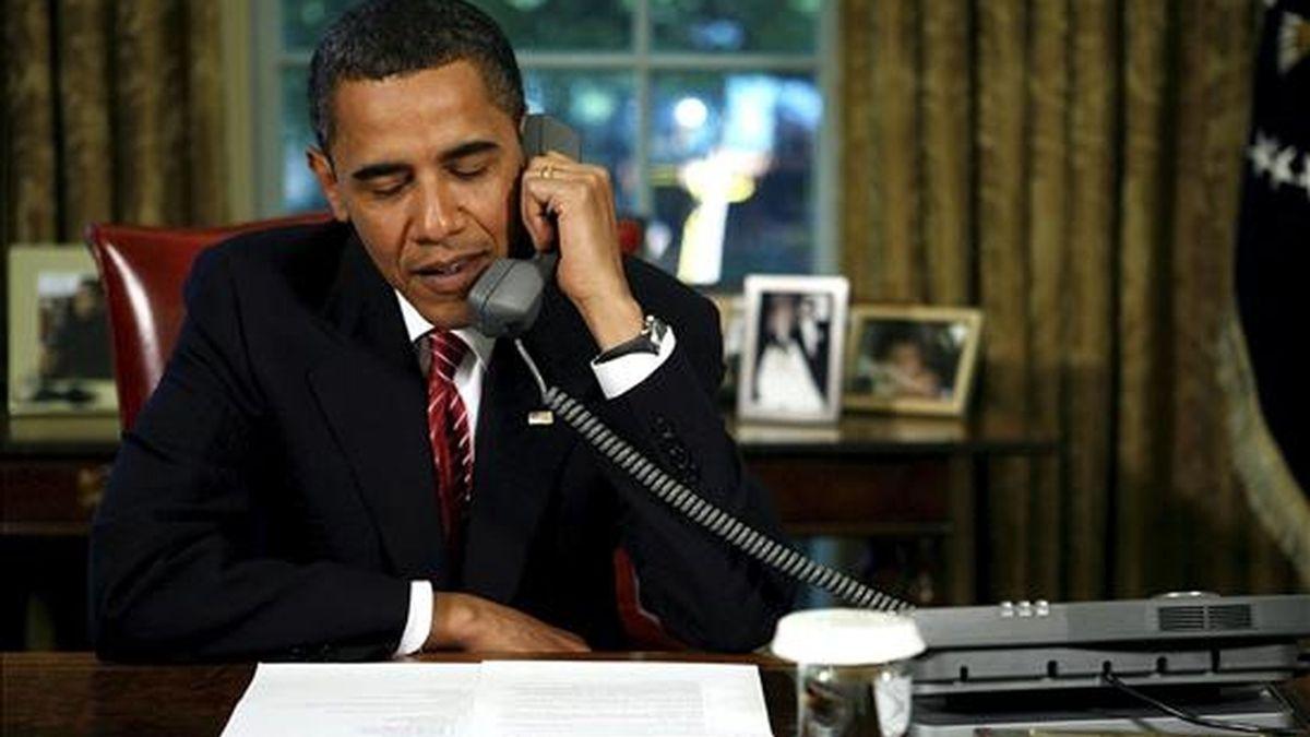 Según indicó hoy la Casa Blanca en un comunicado, Obama telefoneó a Calderón para felicitarle por el éxito de México en la organización de la Conferencia de Cancún contra el cambio climático. EFE/Archivo