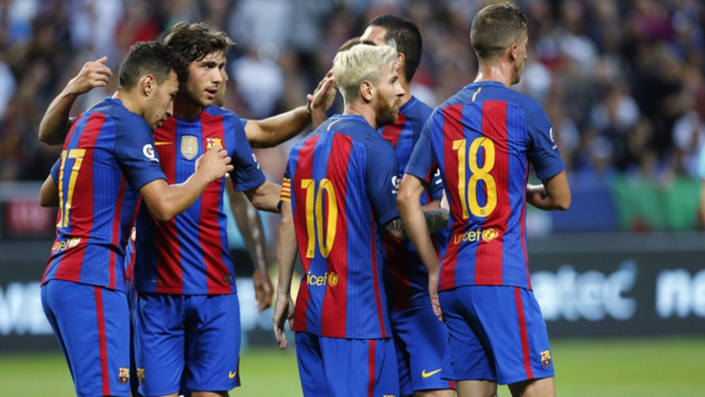 El Barcelona se impone al Leicester con el acierto de Messi y Munir