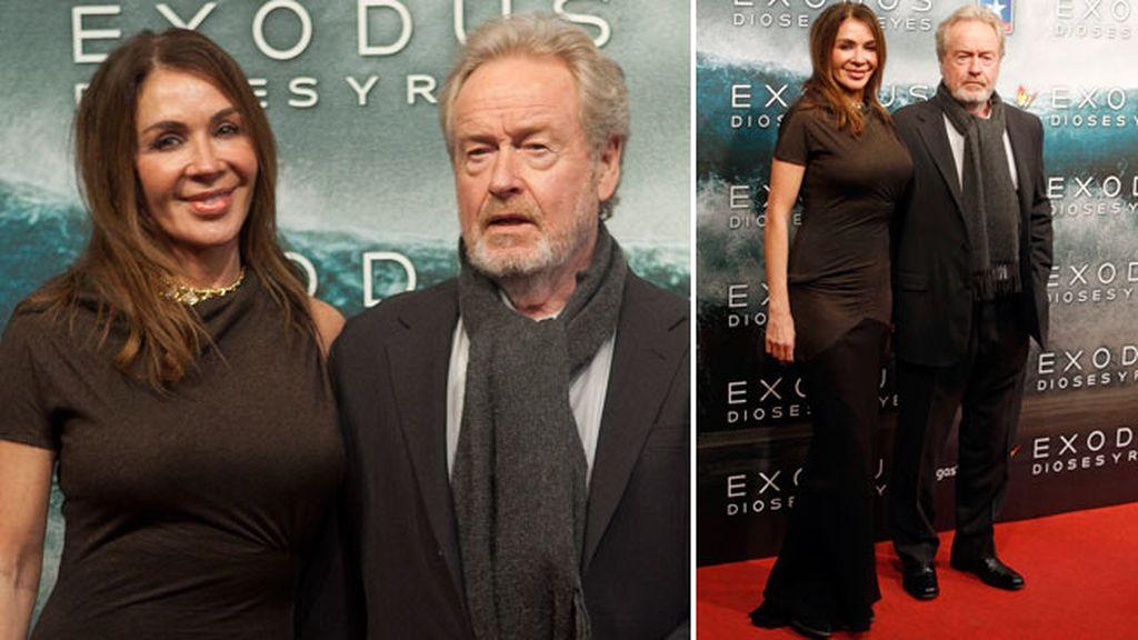 El director de la película, Ridley Scott, y su mujer Giannina Facio