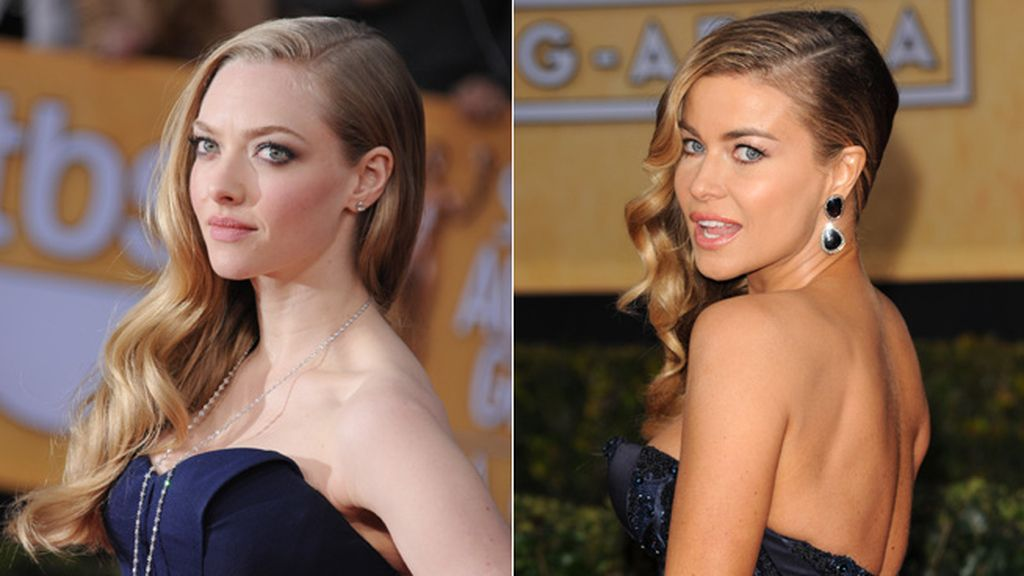 Las dos actrices coincidieron en palabra de honor, color morado, cuerpo sirena y pelo a un lado