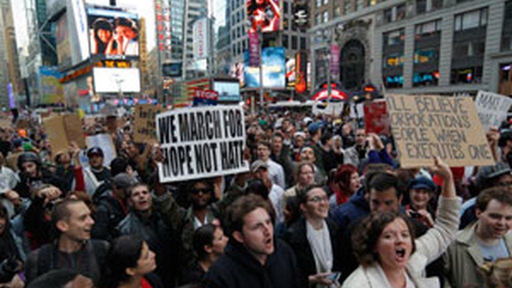Protesta en Times Square de los 'indignados' neoyorquinos