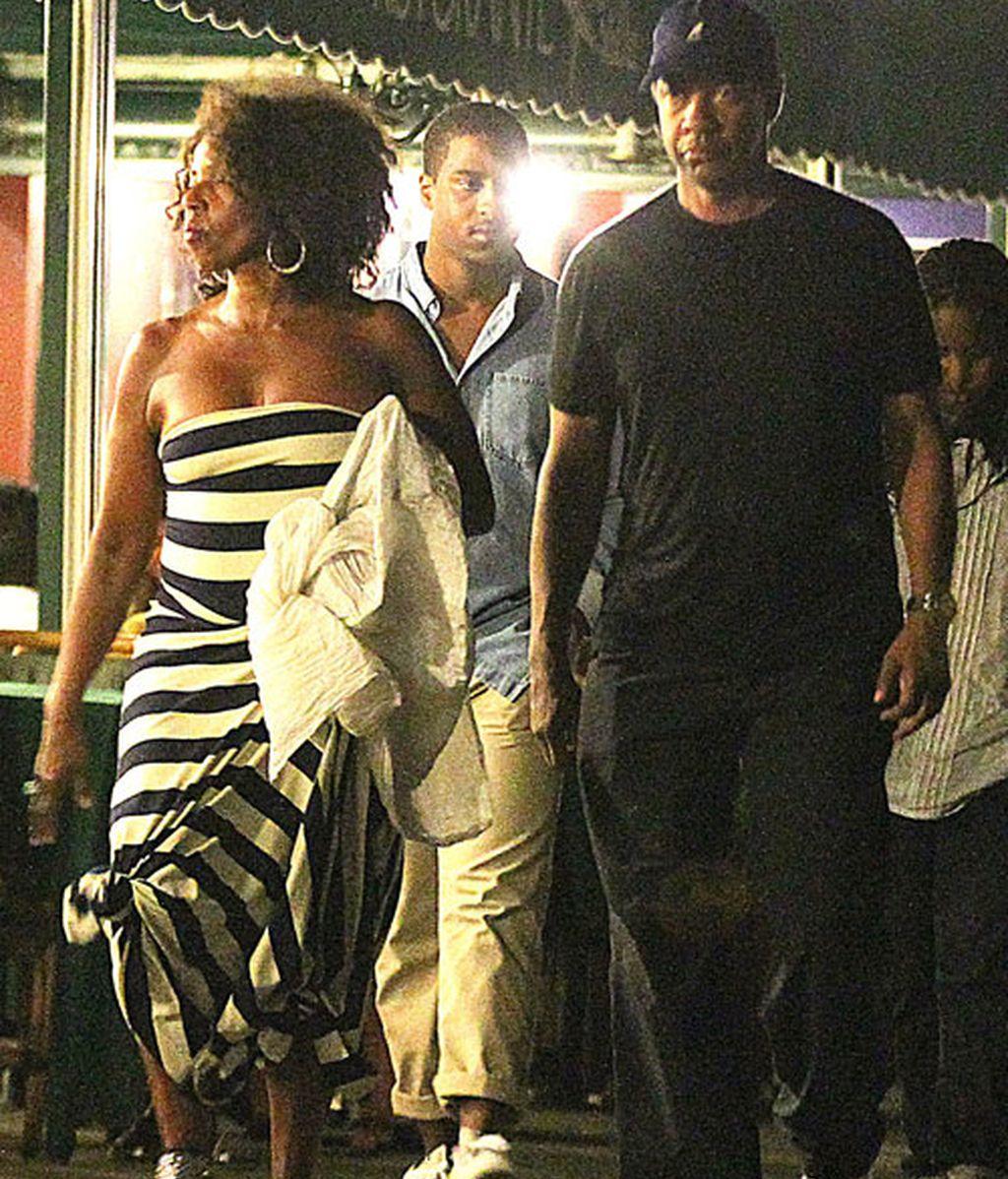 Denzel Washington, con su familia en Italia