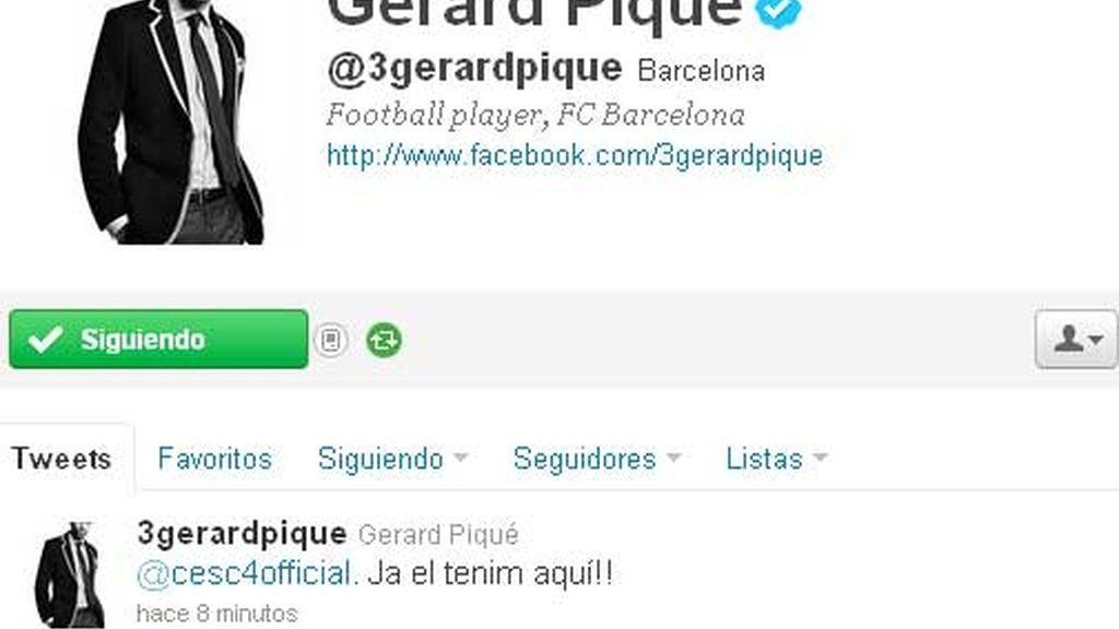 Piqué anuncia en su twitter la llegada de Cesc Fábregas