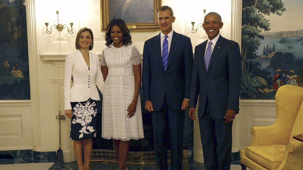 Los Reyes durante su encuentro en la Casa Blanca con Barack Obama y su esposa Michelle