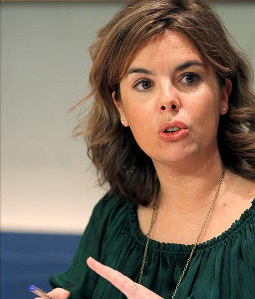 La portavoz del Grupo Parlamentario Popular en el Congreso de los Diputados, Soraya Sáenz de Santamaría.