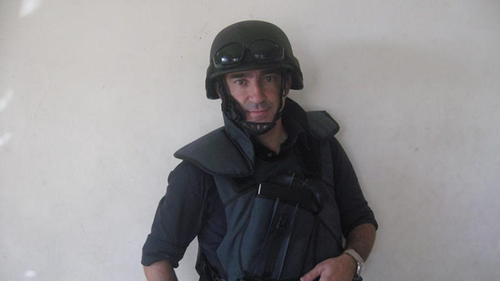 Jon Sistiaga, con ropa de trabajo en Irak