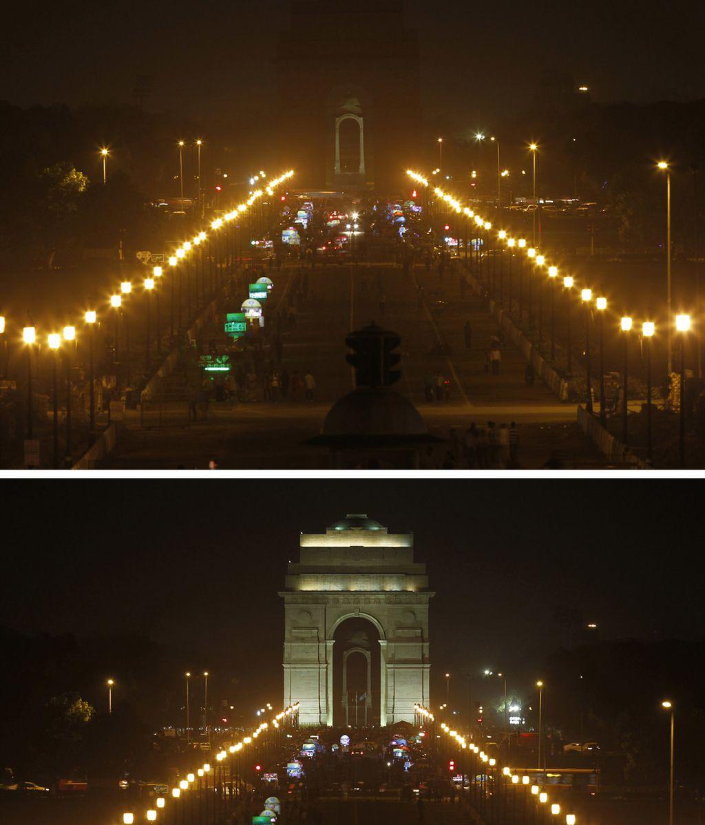 La Puerta de la India iluminada