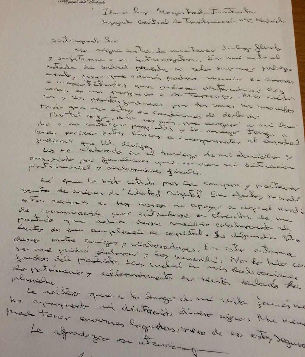 Carta manuscrita del extesorero del PP, Álvaro Lapuerta