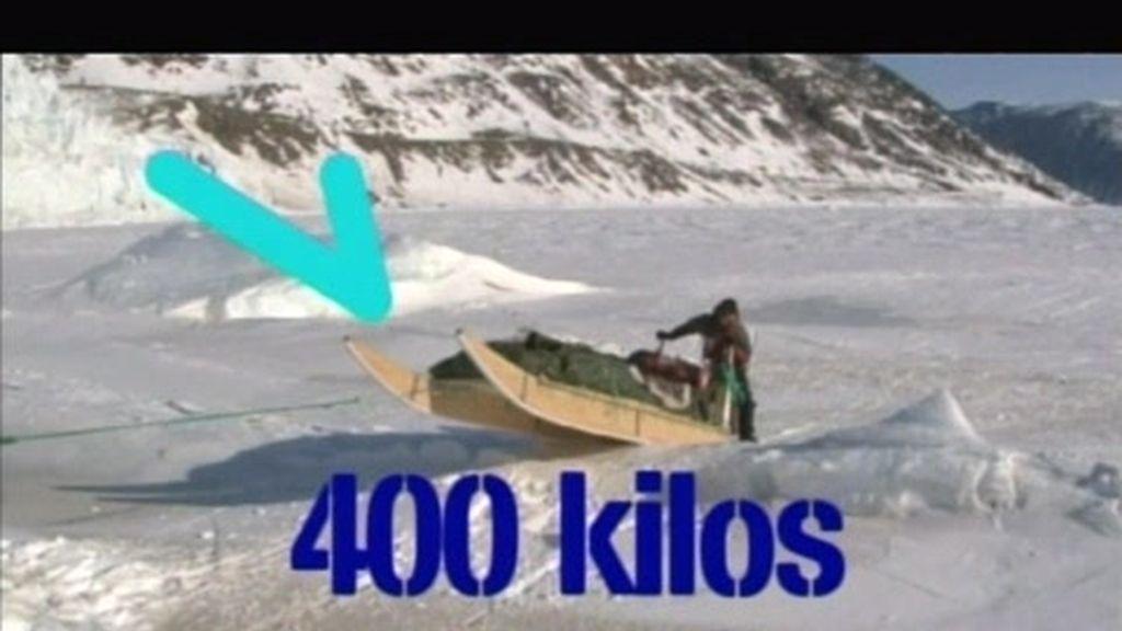 Subir un trineo de 400 kilos a una montaña de 1600 metros..