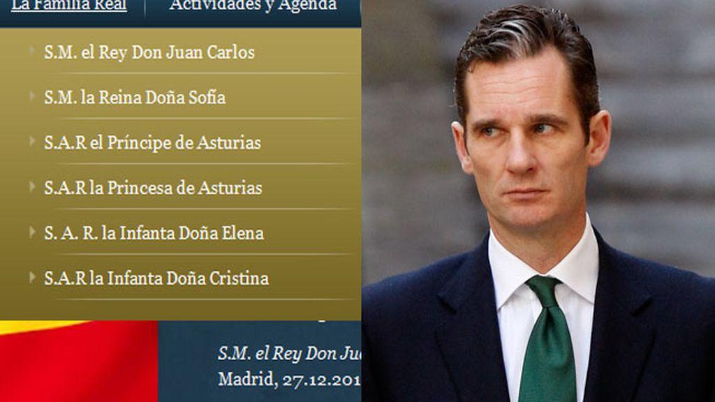 Lista de la Familia Real en la web e Iñaki Urdangarin