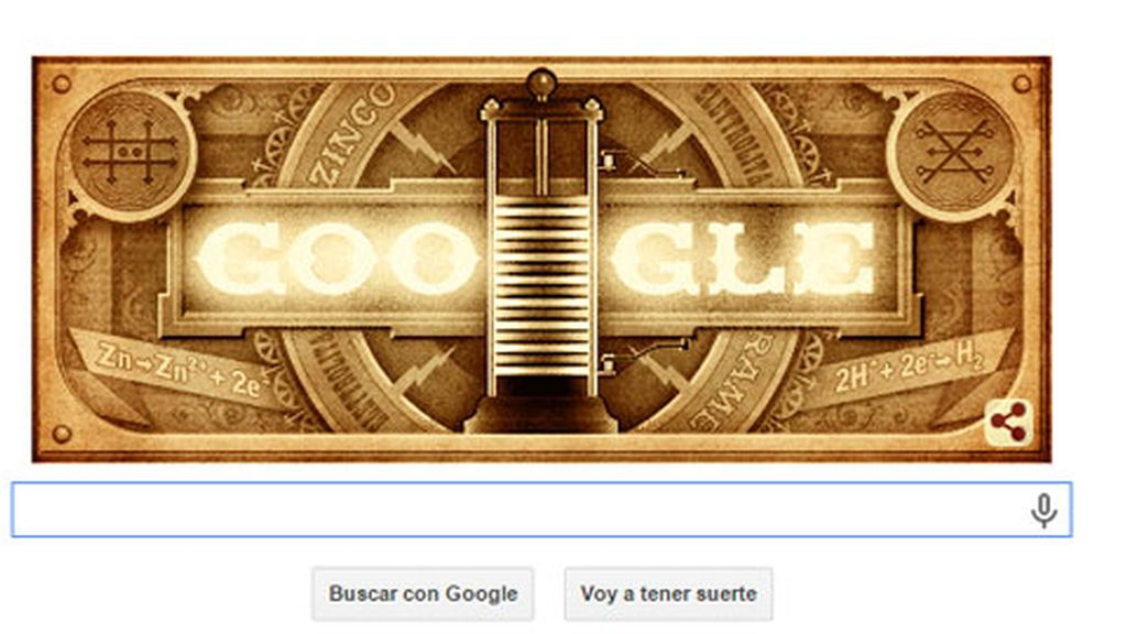 doodle Alessandro Volta, doodle Google, google