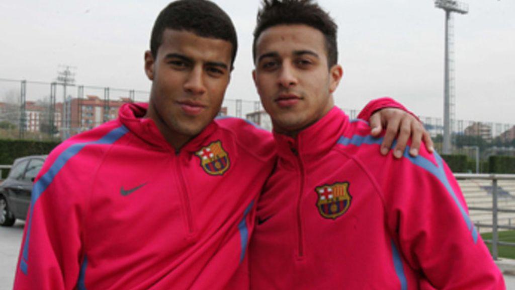 Thiago y Rafinha Alcántara durante su época juntos en el Barcelona