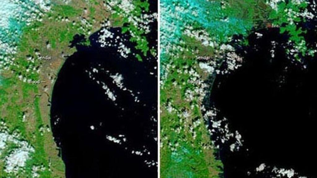 El antes y el después del tsunami de Japón