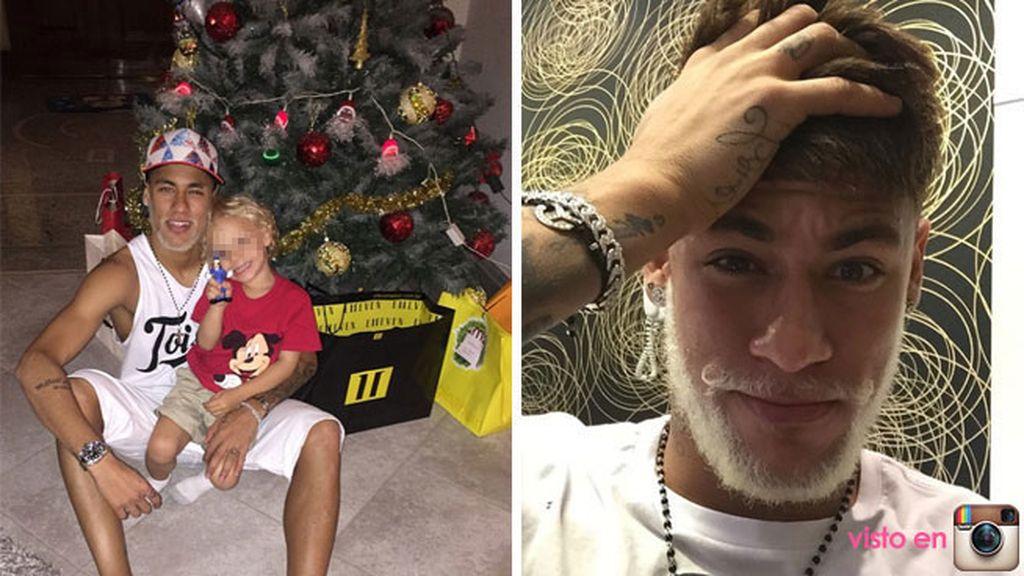 La barba blanca de Neymar, junto a su hijo, por Navidad
