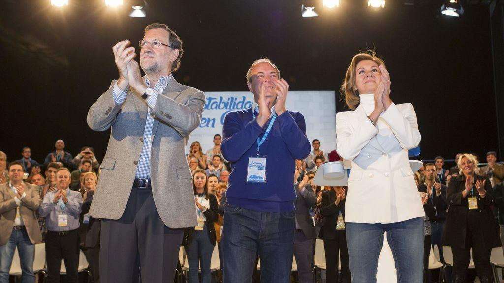 Rajoy junto a Cospedal y a Monago