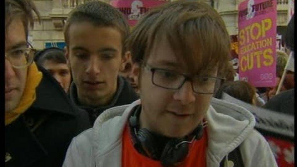 Los estudiantes del Reino Unido en contra del Gobierno Conservador
