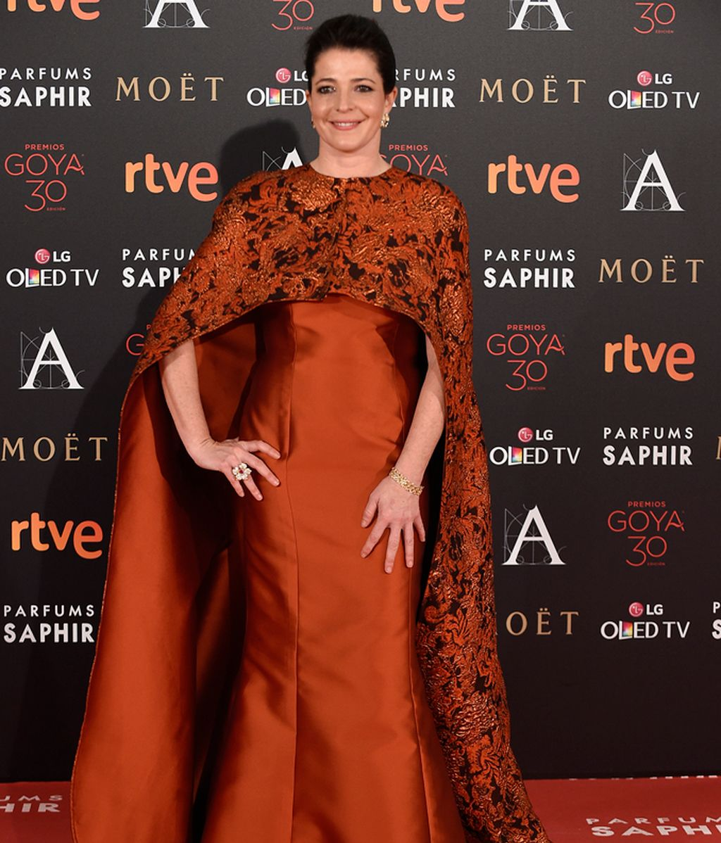 Nora Navas en la alfombra roja de los Goya